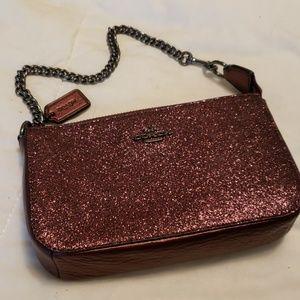 Berry Glitter Coach Wristlet Evening Bag